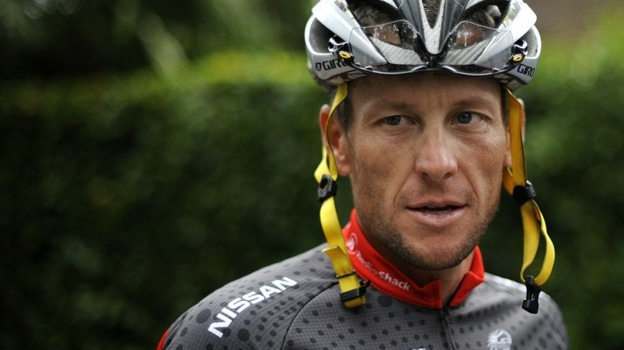 Lance Armstrong arrives at a training session during a rest day of the 2010 Tour de France. (AFP/Getty Images)
