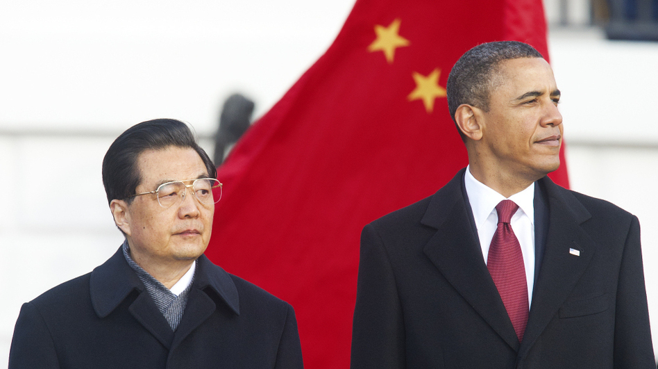 President Obama welcomed his Chinese counterpart, Hu Jintao, during a ceremony Wednesday on the South Lawn of the White House. (AFP/Getty Images)