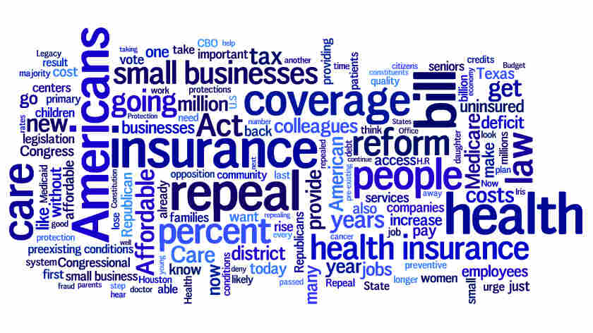A word cloud of what Democrats said during House debate about repeal of health overhaul.