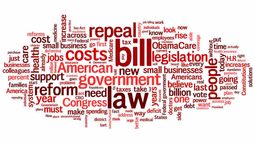 A cloud of words Republicans said in a debate over the repeal of health overhaul.