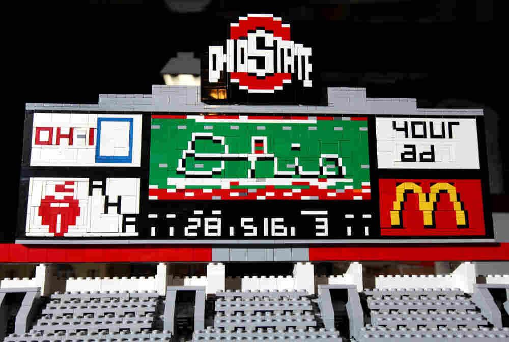 A close-up of the Lego scoreboard inside of Paul Janssen's Ohio Stadium made of Legos.