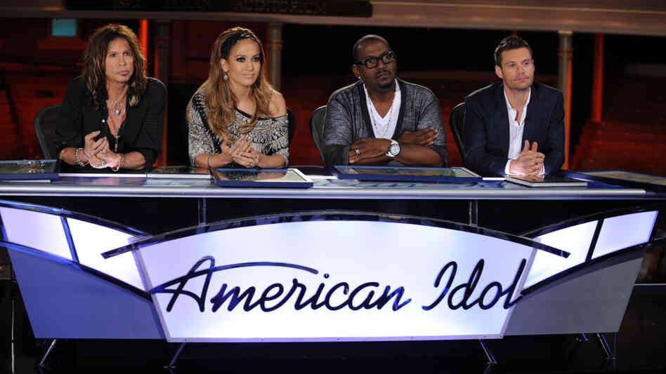 Steven Tyler, Jennifer Lopez, Randy Jackson and Ryan Seacrest answer questions at a press conference on the Idol set in Nashville in October 2010.