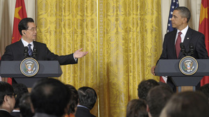 """President Obama and China's President Hu Jintao held a joint news conference Wednesday in the East Room of the White House. When pressed, Hu acknowledged """"a lot has to be done in China in terms of human rights."""""""