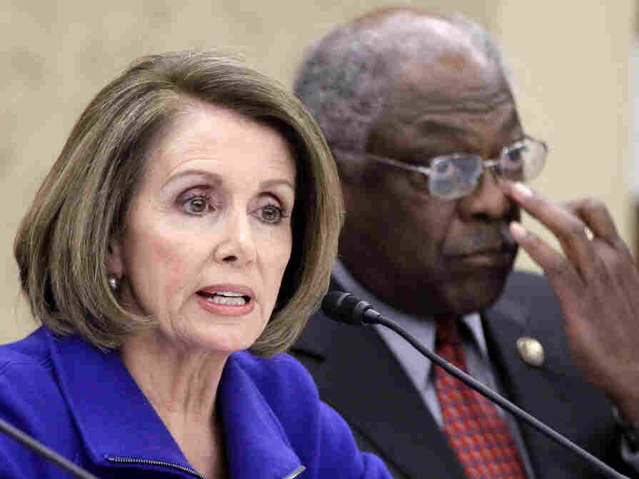 House Minority Leader Nancy Pelosi and Asst Minority Leader James Clyburn at a Democratic  meeting on health care repeal, Jan. 18, 2011.