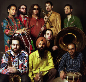Red Baraat is led by Sunny Jain, top left.