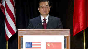 Chinese President Hu Jintao speaks during a luncheon for corporate and policy leaders co-hosted by the U.S.-China Business Council and the National Committee on U.S.-China Relations in Washington on Thursday, at the end of his visit to the U.S. capital.