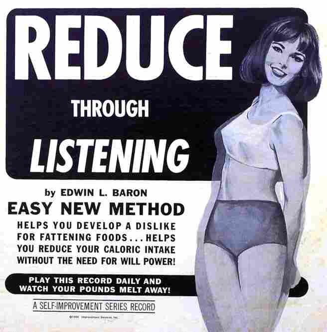 A 1964 ad for a self-improvement record series promotes a psychological approach to losing weight.