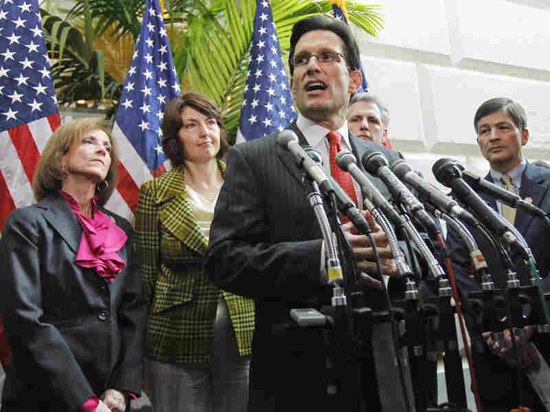 House Majority Leader Eric Cantor of Virginia speaks during a news conference Wednesday on Capitol Hill to discuss the health care repeal vote.