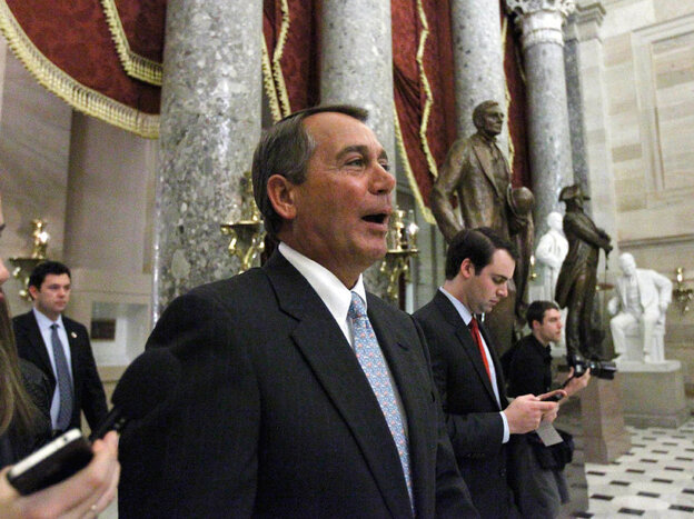 House Speaker John Boehner in Capitol Hill's Statuary Hall after the health  care law repeal vote.