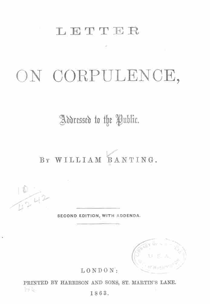The title page of the first diet book: Letter on Corpulence, Addressed to the Public.