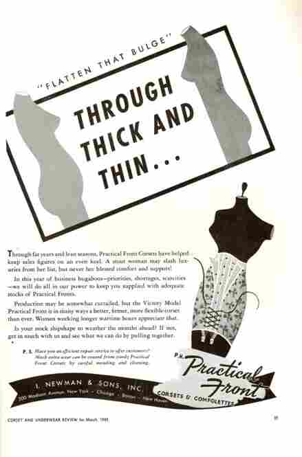 When diets fail, there is always underwear. An ad from Corset and Underwear Review, March 1943.