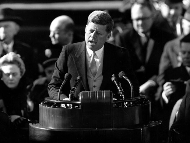 U.S. President John F. Kennedy delivers his inaugural address, Jan. 20, 1961.