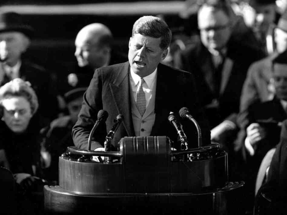 U.S. President John F. Kennedy delivers his inaugural address, Jan. 20, 1961.