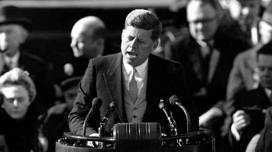President John F.  Kennedy, giving his inaugural address, on Jan. 20, 1961.