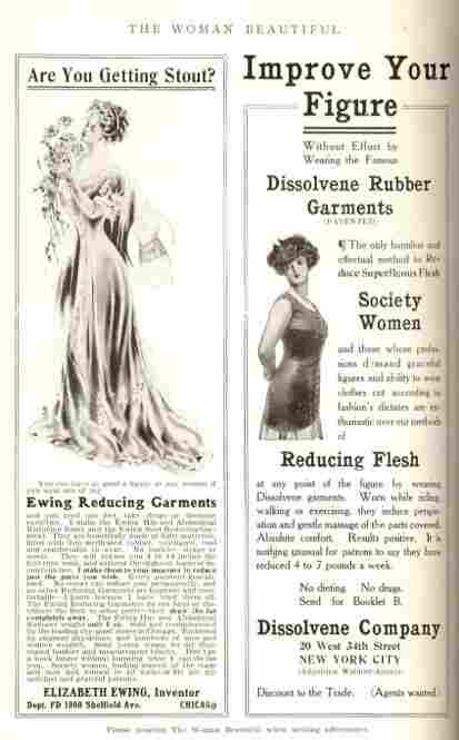 A page of ads inside The Woman Beautiful magazine issue from June 1908.