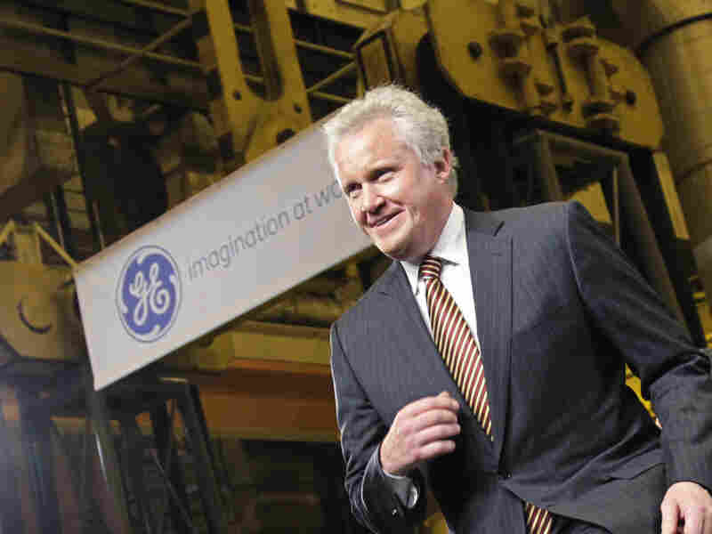 GE CEO Jeffrey Immelt strides to the stage at the GE plant in Schenectady, N.Y., to introduce President Obama on Friday.