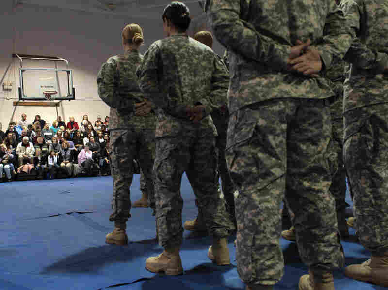 U.S. Army soldiers stand during a departure ceremony in Fort Carson, Colorado. This month, the Pentagon announced a $78 billion budget cut in military spending over the next five years.