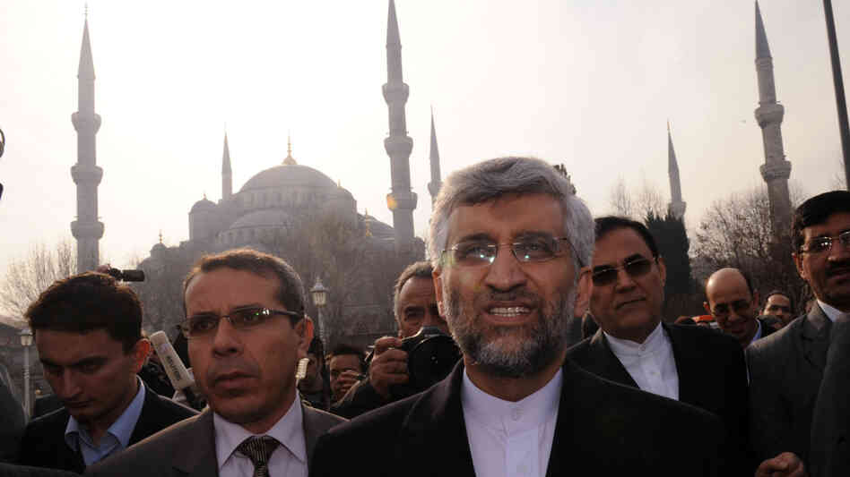 Iran's chief nuclear negotiator, Said Jalili (center), leaves Istanbul's Blue Mosque after Friday prayers during a break in talks with six world powers.