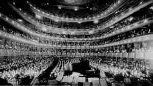 A full house, seen from the rear of the stage, at the Metropolitan Opera House for a concert by pianist Josef Hofmann in November 1937. (The old Metropolitan Opera House was demolished in 1966.)
