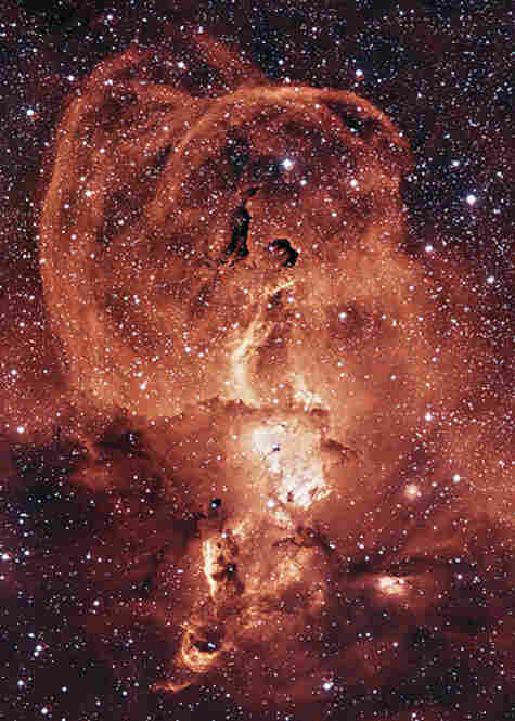 NGC3582, a nebula that sits inside of the star forming region RCW57. The loops of ionized gas are expelled by dying stars.