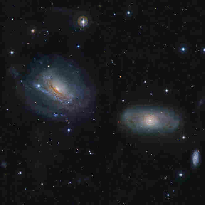 The NGC3169 and NGC3166 galaxies are gravitationally bound to each other.