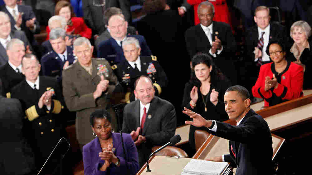 President Obama waves before his first State of the Union address on Jan. 27, 2010.