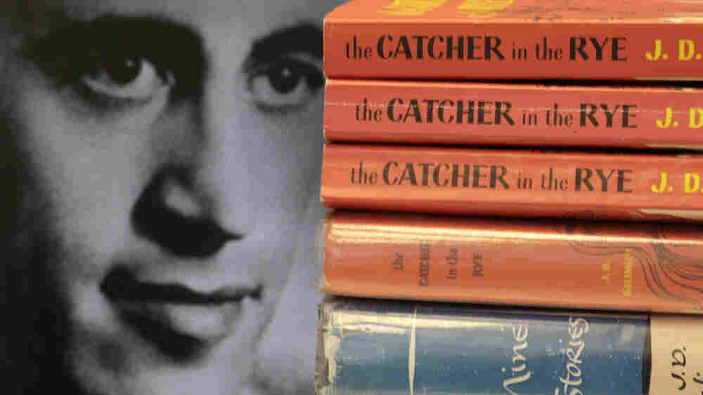 A 1951 photo of Salinger paired with some of his books.