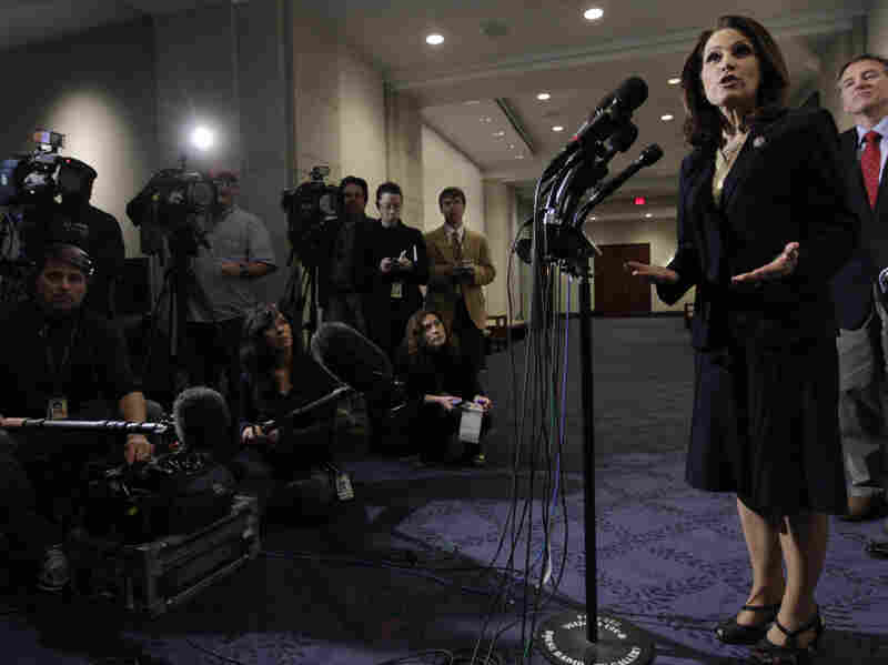 Rep. Michele Bachmann (R-MN) speaks to members of the media following a closed Constitutional Seminar featuring Associate Justice of the U.S. Supreme Court Antonin Scalia on Monday. Bachmann will be giving the Tea Party response to Obama's State of the Union address on Tuesday.