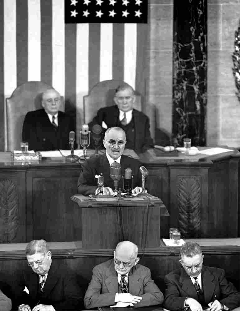 President Truman delivers his State of the Union address on Jan. 8, 1951.