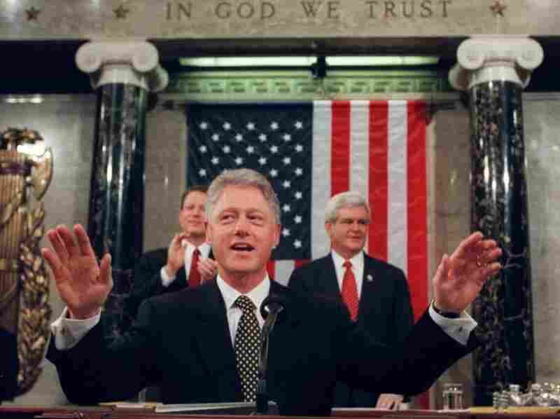 President Clinton acknowledges the applause from members of Congress prior to his State of the Union address on Jan. 27, 1998.