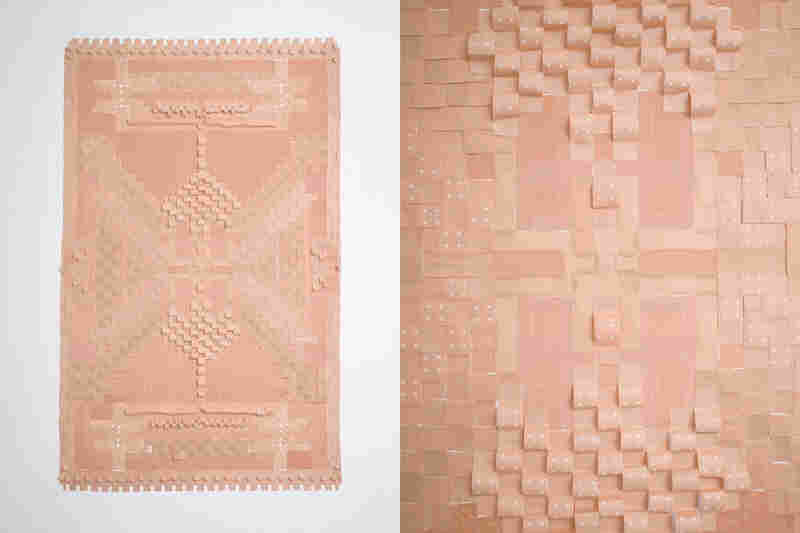 This carpet made of bandages is stuck to the wall of Nolte's studio.