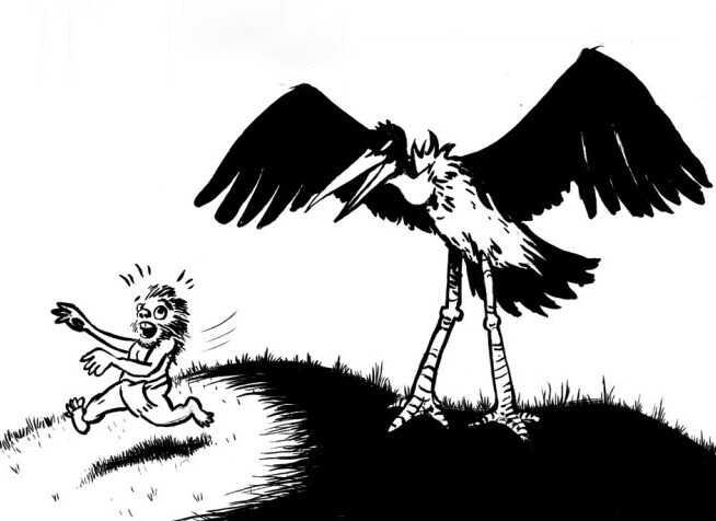 Giant stork scaring away a hobbit.