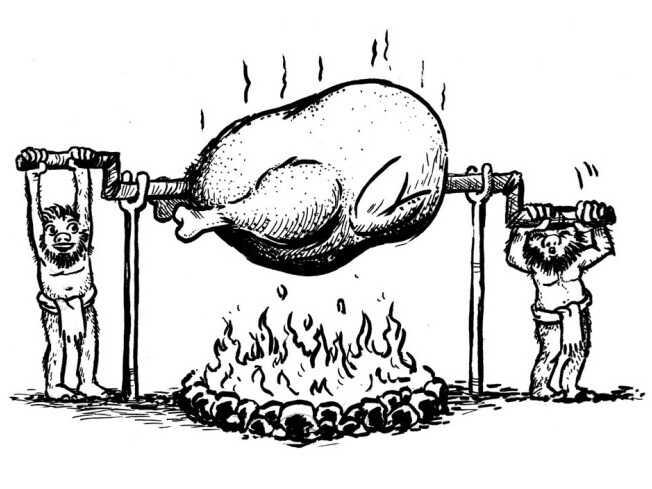 Hobbits roasting a stork on a spit.