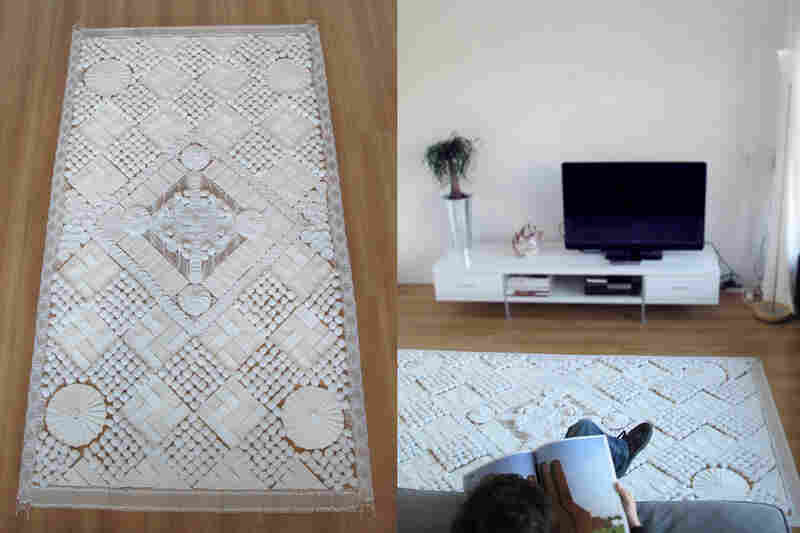 A carpet made of cotton balls, cotton swabs and other material you would find in a first aid kit is probably the one that most resembles a real carpet.