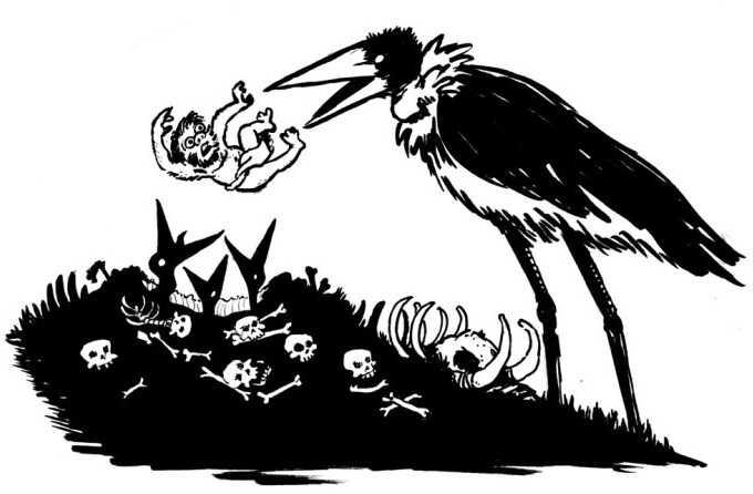 Stork feeding baby hobbits to nestlings.