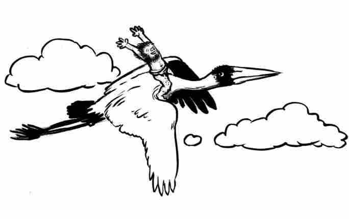 A hobbit soaring on a stork.