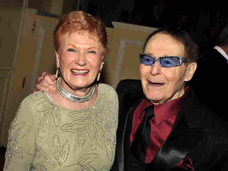 Jack LaLanne and his wife, Elaine, arrive for his 95th birthday celebration at the Beverly Wilshire Hotel on Sept. 24, 2009, in Beverly Hills, Calif.