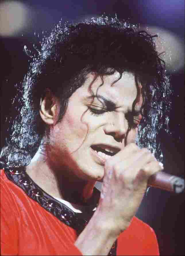 Michael Jackson performs during the Bad Tour in 1987 at Wembley Stadium in London.