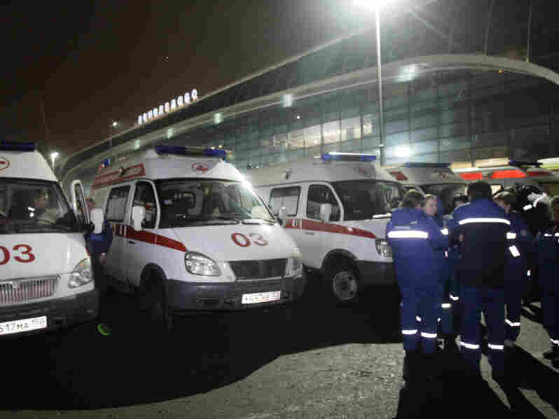 A row of ambulances was parked outside a terminal at Domodedovo Airport after an explosion ripped through the international arrivals hall.