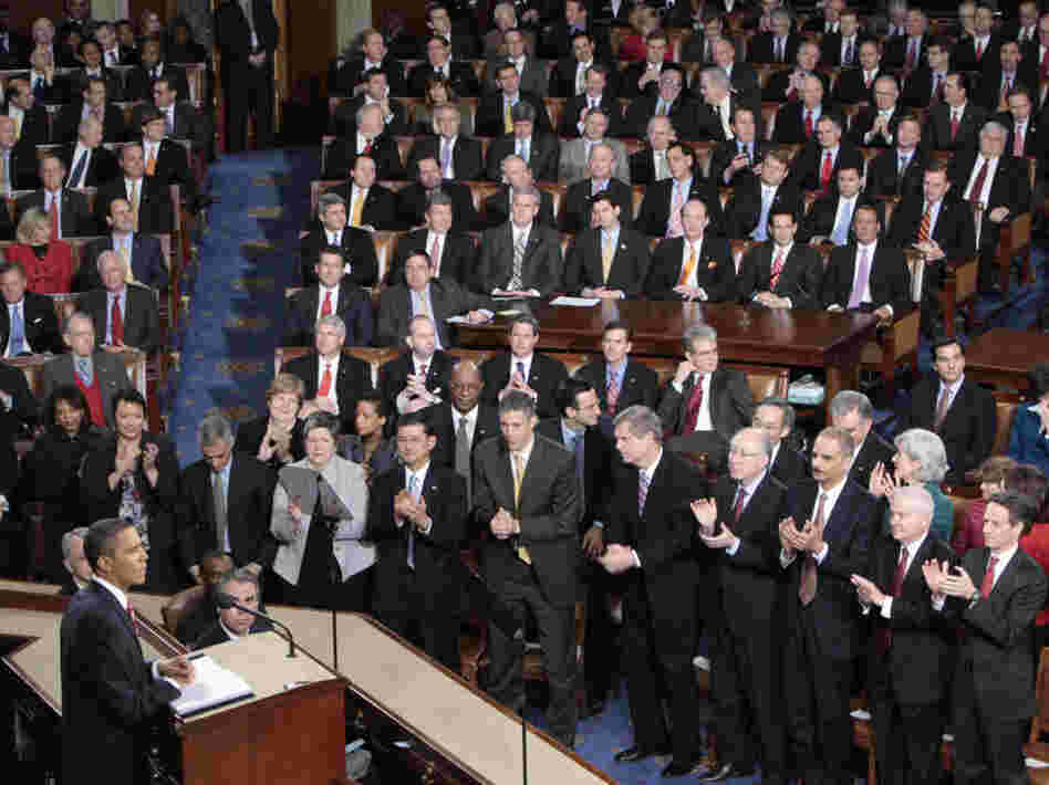 President Obama delivering his 2010 State of the Union address.