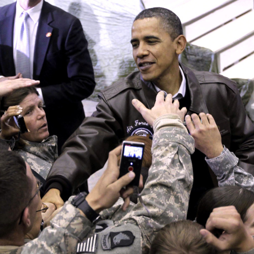 President Obama greets troops at a rally during an unannounced visit at Bagram Air Field in Afghanistan on Dec. 3, 2010.