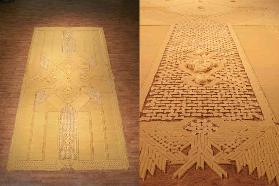 A carpet made of pasta!