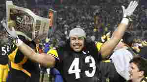 Pittsburgh Steelers safety Troy Polamalu celebrates after his team beat the New York Jets, 24-19, on Sunday to win the AFC championship game in Pittsburgh.