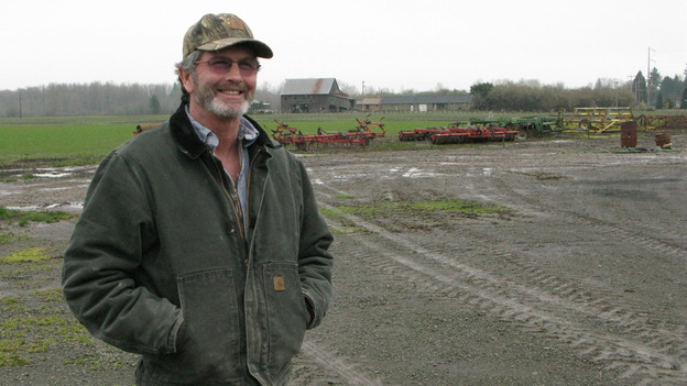"""Farmer Tim Winn, who has a farm on the banks of the Willamette River, says government scientists have concluded that there is nothing dangerous about the """"Roundup Ready"""" version of the sugar beet crop. (Dan Charles for NPR)"""