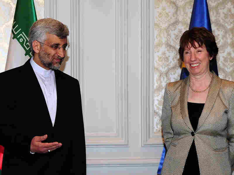 Saeed Jalili, Iran's chief nuclear negotiator, and EU foreign policy chief Catherine Ashton arrive for talks on Iran's nuclear program in Istanbul on Jan. 21.