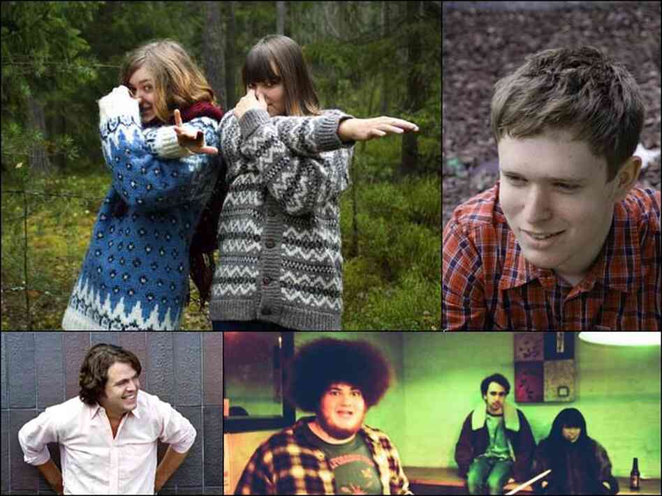 Clockwise from top left: First Aid Kit, James Blake, Yuck, Apex Manor.