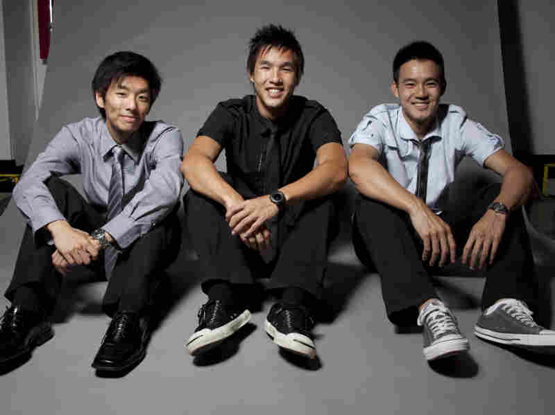 "(Left to right) Ted Fu, Wesley Chan, Philip Wang — co-founders of Wong Fu Productions. ""People, especially through YouTube, they're finding types of entertainment that are just from people that are just like themselves — or people that they can relate to a little bit better than some unattainable movie star or TV star,"" Wang says."