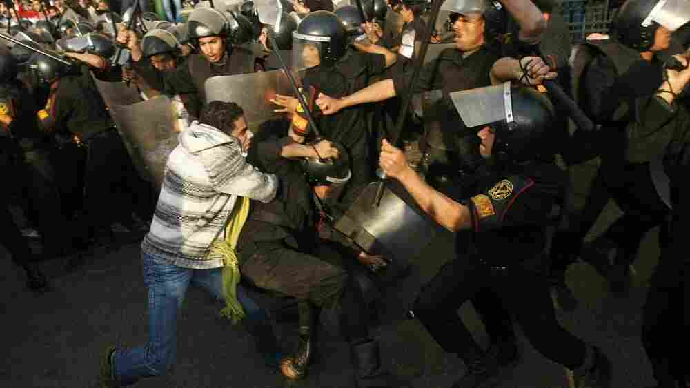 Demonstrators clashed with police in central Cairo today (Jan. 25, 2011) during a protest to demand the ouster of President Hosni Mubarak and calling for reforms.