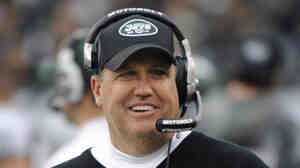 New York Jets coach Rex Ryan in happier times, as he watches from the sideline during the first quarter of an NFL football game between the Buffalo Bills and the Jets.