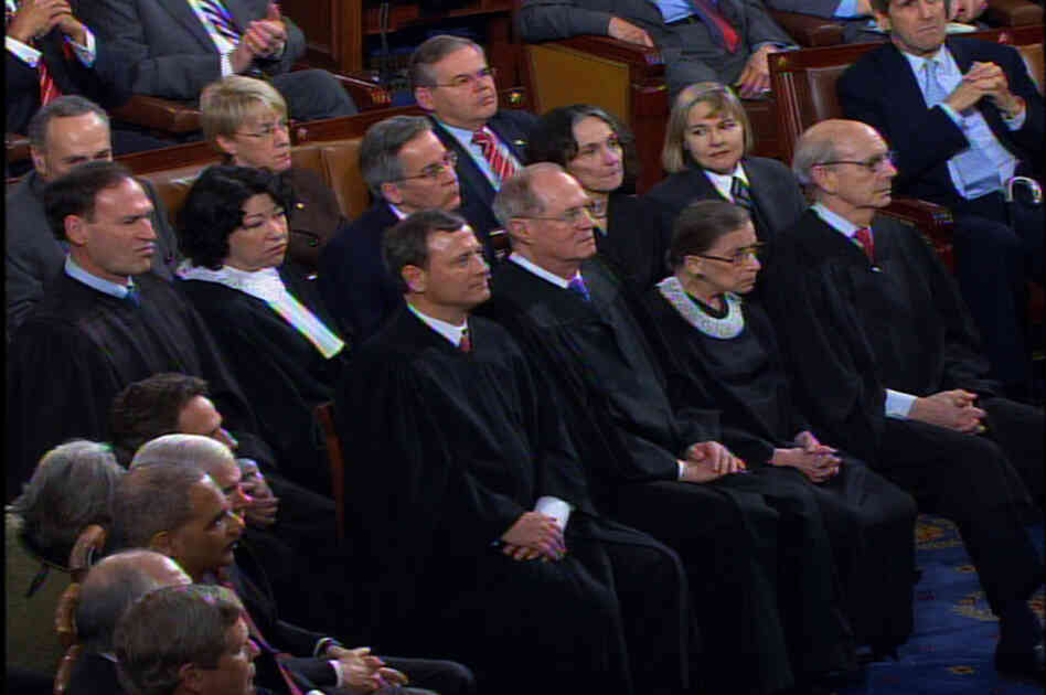 Video image of Supreme Court justices at the 2010 State of the Union speech.
